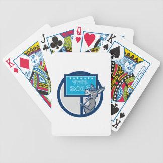 Vote 2016 Democrat Donkey Mascot Cartoon Poker Deck