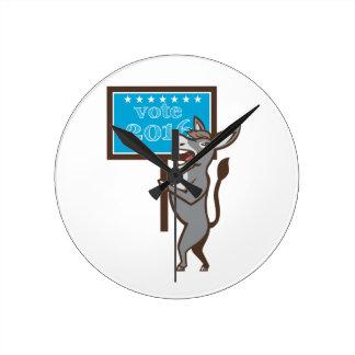 Vote 2016 Democrat Donkey Mascot Cartoon Wallclock