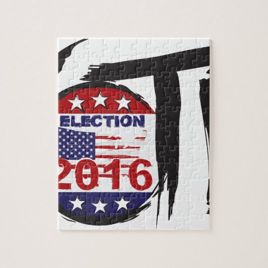 Vote 2016 Election Ink Brush Illustration Jigsaw Puzzle