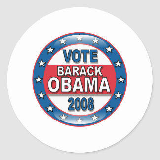 Vote Barack Obama 2008 Round Sticker