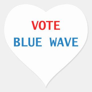 vote blue wave heart shape sticker