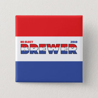 Vote Brewer 2010 Elections Red White and Blue 2 Inch Square Button
