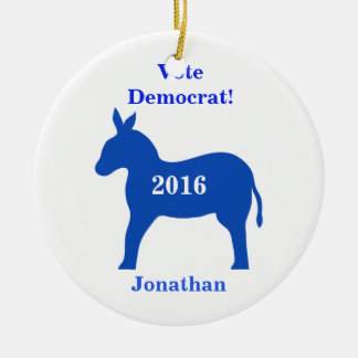Vote Democrat 2016 Name Personalized Blue Ceramic Ornament