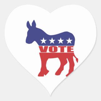 Vote Democratic Party Heart Stickers