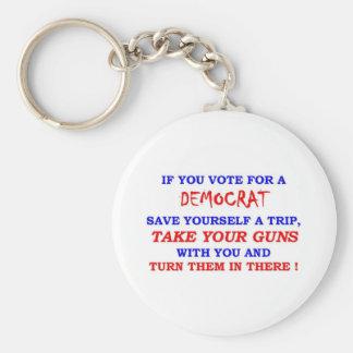 VOTE DEMOCTAT BASIC ROUND BUTTON KEYCHAIN