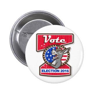 Vote Election 2016 Democrat Donkey Mascot Cartoon 2 Inch Round Button