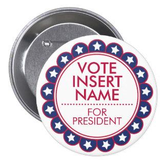 "Vote Election Campaign Large 3"" Custom Button"