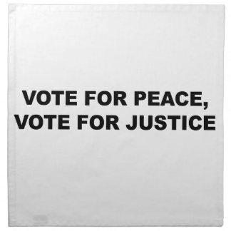 VOTE FOR PEACE, VOTE FOR JUSTICE NAPKIN