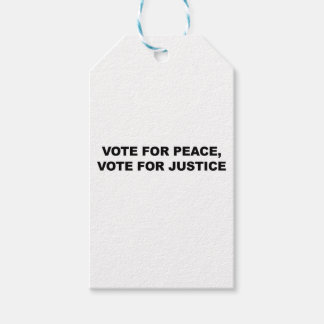 VOTE FOR PEACE, VOTE FOR JUSTICE PACK OF GIFT TAGS