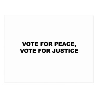 VOTE FOR PEACE, VOTE FOR JUSTICE POSTCARD