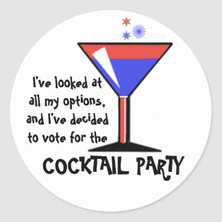 Vote for the Cocktail Party! Classic Round Sticker