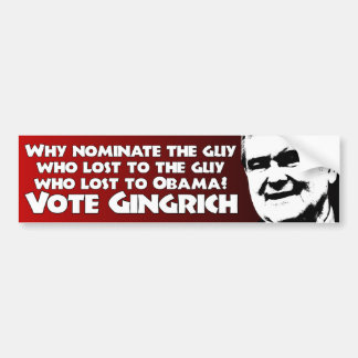 Vote Gingrich Bumper Sticker
