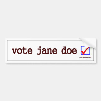 """Vote Jane Doe"" Bumper Sticker"