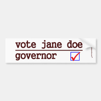 """Vote Jane Doe"" Governor Bumper Bumper Sticker"