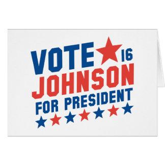 Vote Johnson 2016 Card