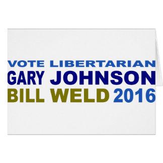 Vote Libertarian Johnson-Weld 2016 Card