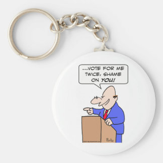 vote me twice shame on you politician basic round button keychain