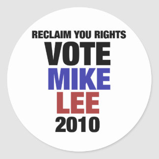 Vote Mike Lee 2010 Classic Round Sticker