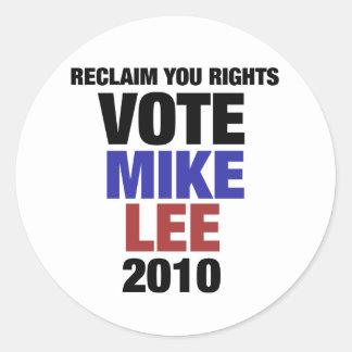 Vote Mike Lee 2010 Round Sticker