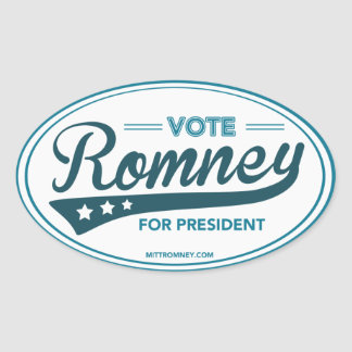 Vote Mitt Romney For President Swoosh (Blue Oval) Oval Sticker