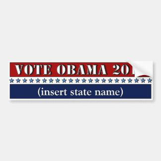 Vote Obama 2012 customizable state bumper sticker