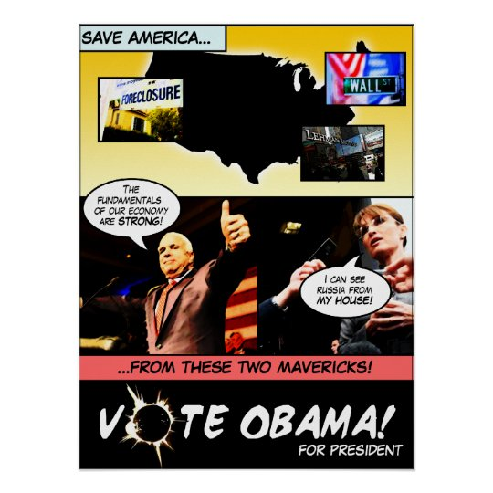 VOTE OBAMA! Election Comic Strip P... - Customized Poster