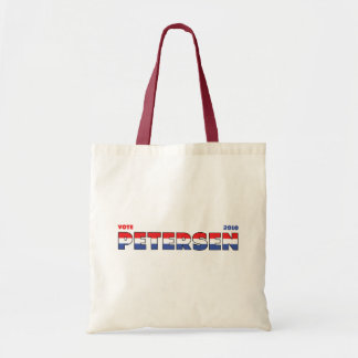 Vote Petersen 2010 Elections Red White and Blue Budget Tote Bag