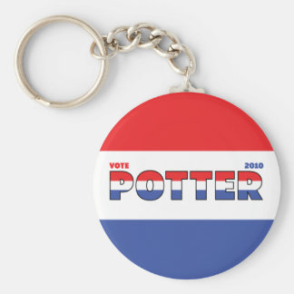 Vote Potter 2010 Elections Red White and Blue Basic Round Button Keychain
