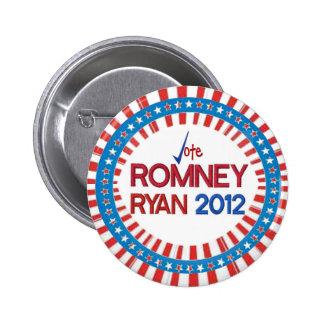 Vote Romney Ryan 2012 Stars & Stripes Button