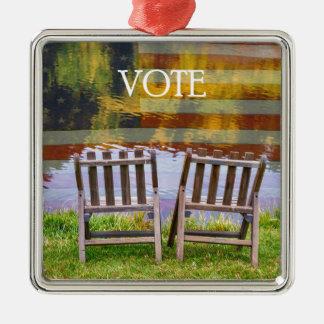 VOTE Silver-Colored SQUARE ORNAMENT