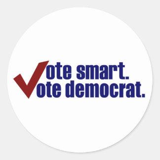 Vote Smart Vote Democrat Classic Round Sticker