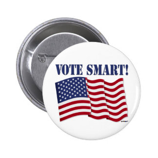 VOTE SMART! with US Flag 2 Inch Round Button