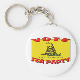 VOTE TEA PARTY (Don't Tread On Me Flag) Basic Round Button Keychain