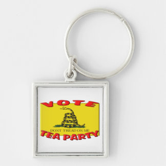 VOTE TEA PARTY (Don't Tread On Me Flag) Silver-Colored Square Keychain