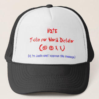 VOTEJustin for World Dictator(2 0 X X) Trucker Hat