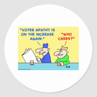 voter apathy increase who cares round sticker
