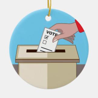 Voting Box Round Ceramic Ornament