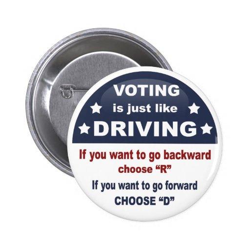 Voting - Driving 2 Inch Round Button