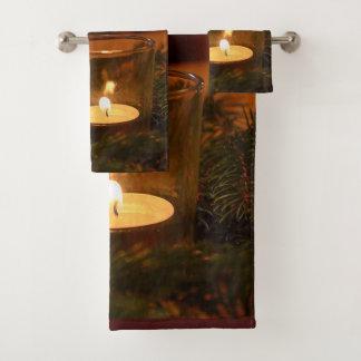 Votive Candle and Garland Bathroom Towel Set