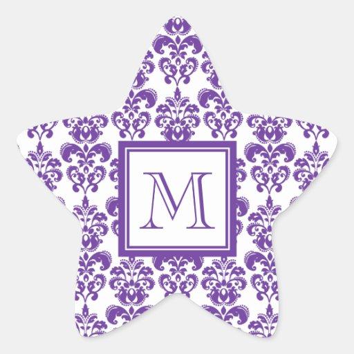 Votre monogramme, motif pourpre foncé 2 de damassé sticker en étoile