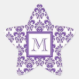 Votre monogramme, motif pourpre foncé 2 de damassé sticker étoile