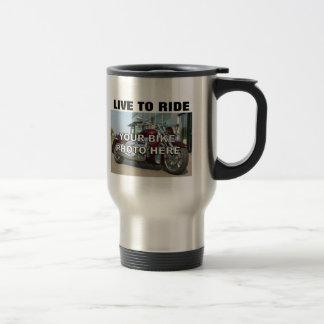 Votre photo faite sur commande de moto vivante mug de voyage en acier inoxydable