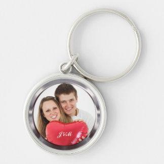 Votre propre photo de couples de mariage porte-clé rond argenté