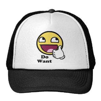 Voulez le smiley impressionnant de visage casquettes