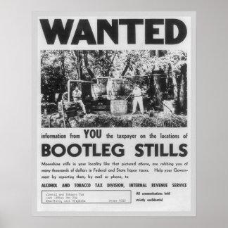 Voulu : Distillateurs de produit vendu illégalemen Poster