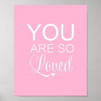 Vous êtes ainsi décor rose aimé d'art de crèche posters