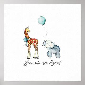 Vous êtes ainsi éléphant et girafe aimés poster