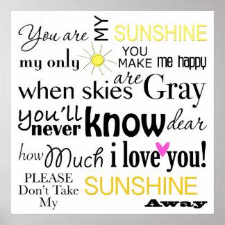 Vous êtes mon art de mot de soleil poster