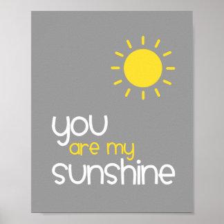 Vous êtes mon décor gris d'art de crèche de soleil poster