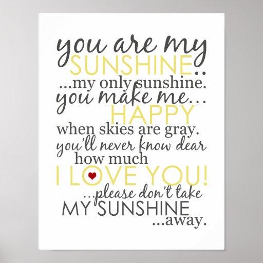 Vous êtes mon soleil - blanc - affiche